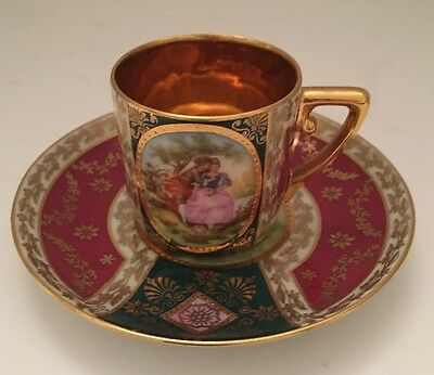 J W Decor CARLSBAD Demitasse Cup & Saucer Courting Couple Scene Signed FRAGONARD