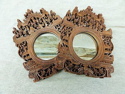 A Pair of Chinese Carved Sandalwood Frames