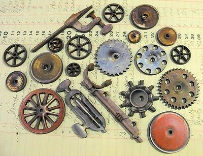 Collection of 20 Wooden Steampunk Art Parts - Wheels, Gears Antique Mechanical
