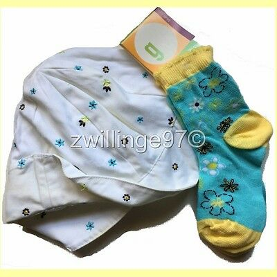 NWT GYMBOREE FLOPPY EMBROIDERED SUN HAT & FLORAL SOCKS S 2 to 3 yrs VINTAGE