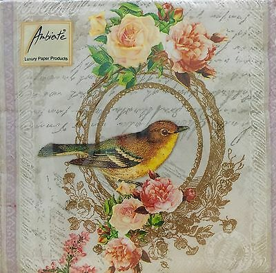 Ambiente Frames And Flowers 20 Paper Napkins Made In Netherlands For Decoupage