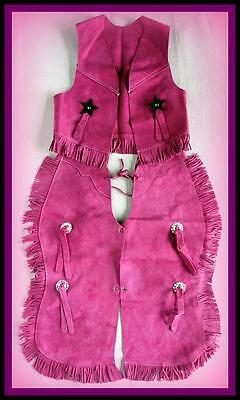 New PINK SUEDE VEST CHAPS SET KIDS DRESS Up Cowboy Cowgirl Costume! Sm Med Large