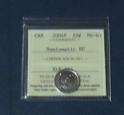 Iccs Graded 2004 P Ms-67 Canadian Ten Cents Very Nice Coin Bu