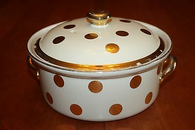 """Vintage Hall China Gold Label Polka Dot Dots 8.375"""" Round Covered Casserole GUC"""