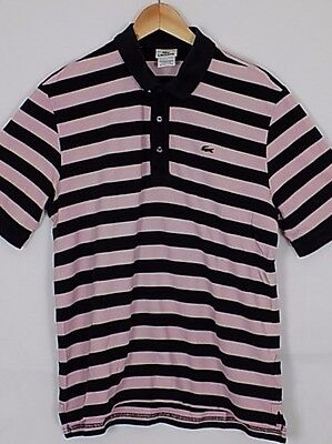 Lacoste Polo  Shirt Mens Stripe Black Pink Vintage Size S