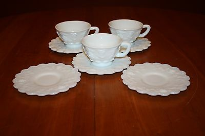 Vintage Westmoreland Milk Glass Paneled Grape 3 Cups & 5 Saucers (3 Smooth) EUC