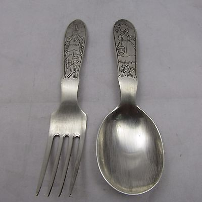 Vintage Unusual Silver Christening Set Fork And Spoon Mappin & Webb 1947