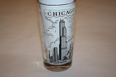 Vintage Souvenir Glass Sears Tower Chicago Illinois with Statistics