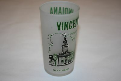 Vintage Souvenir Frosted Glass Vincennes Indiana George Rogers Clark Memorial