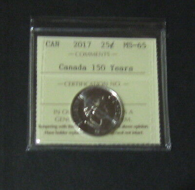 Iccs Graded 2017 Ms-65 Canadian Quarter 25 Cents Canada 150 Years Very Nice Coin