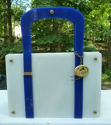 Vintage KORET LUCITE NAVY BLUE & WHITE Purse in BEAUTIFUL Condition!  WITH TAG
