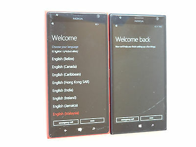 Lot of 2 Nokia Lumia 1520 RM-940 AT&T Smartphones Good LCD AS-IS GSM
