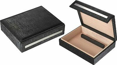 VISL-VHUD80-Visol Aspen Black Leather Travel Cigar Humidor - Holds 16 Cigars