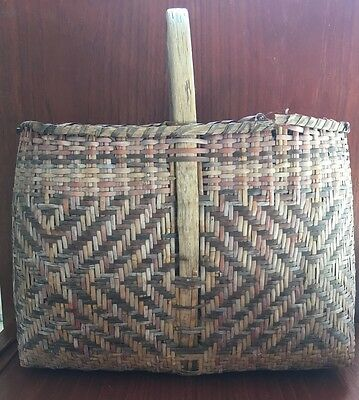 Large Old Cherokee  Louisiana Indian Basket Dyed Cane with Handle Buy It Now