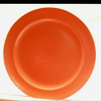 "Vintage uranium orange red 10"" plate Catalina? Toyon? red California Pottery"