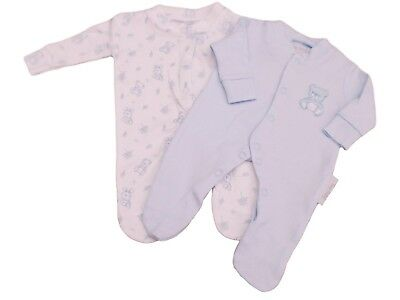 BNWT Tiny baby Premature Preemie Teddy twin pack sleepsuits in  pink or blue