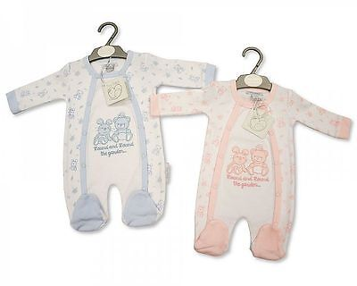BNWT Tiny Premature Preemie Baby girls or boys cotton teddy sleepsuit Clothes