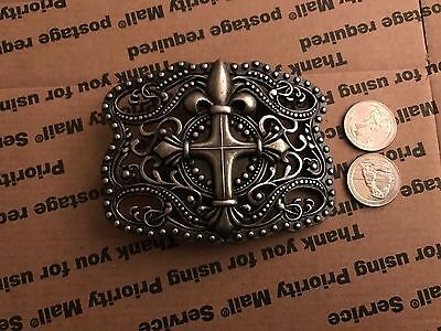Anchor Blue Belt Buckle **cross And Filigree**