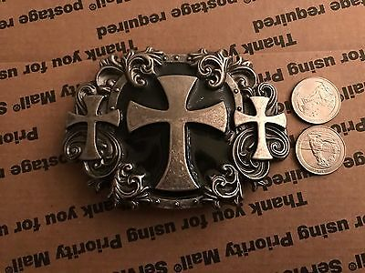 Anchor Blue Belt Buckle **crosses And Filigree**