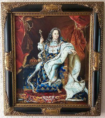 Antique Vintage Oil Painting Portrait King Louis XV French Art O/C Framed
