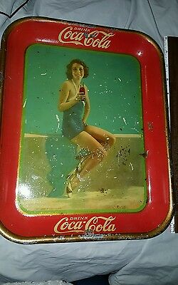 "1933 Coca-Cola Tin Lithograph Advertising Serving Tray ""frances Dee"" Coke Tray"