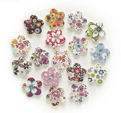 """Lot of 10 FLOWER 2-hole White Wood Buttons 11/16"""" (17mm) Scrapbook Craft (7133)"""