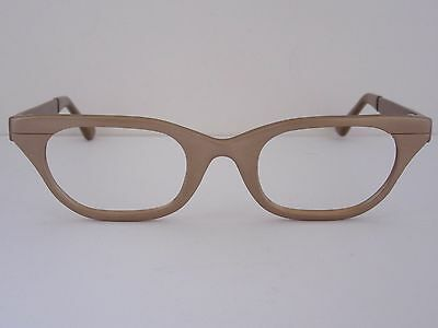 TURA Aluminum Cat Eye Eyeglass Frames Matte Gold, Vintage Japan, NOS