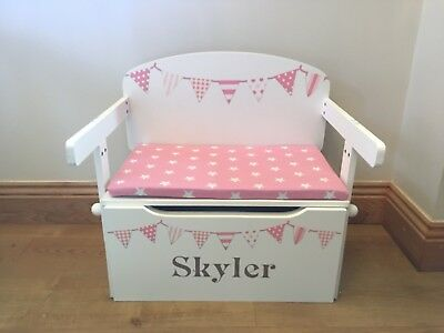 Girls Toy Box, Peachy Pink Bunting, Personalised Storage Bench & Desk (RRP £125)