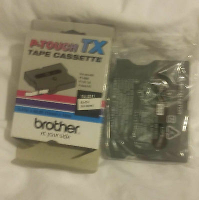 Brother Genuine TX-2311 P-Touch TX Laminated Tape Black On White (12mm x 15m)