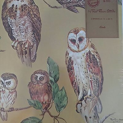 Vintage Wrapping Paper Owls Red Farms Studios Scrapbooking Crafts New Old Stock