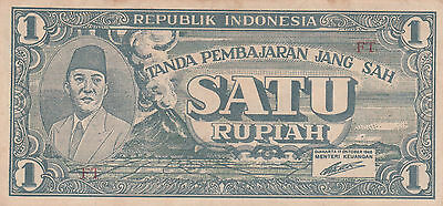 1950s indonesia one rupiah VF