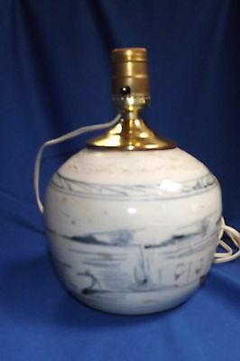 Antique Chinese Canton Blue & White Pottery Ginger Jar Base Working Lamp Signed