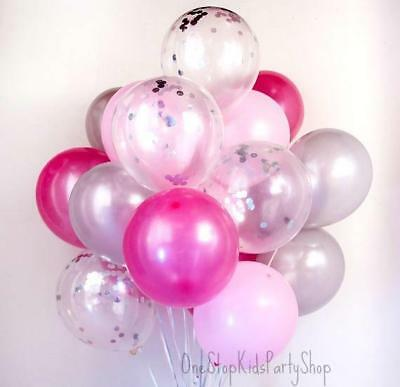 Pink & Silver Confetti Balloon Set-Party Decorations-Birthdays-Baby Showers