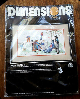 VTG 1987 Dimensions Amish Pastimes Crewel Kit No. 1339 Finished Size 18in x 10in