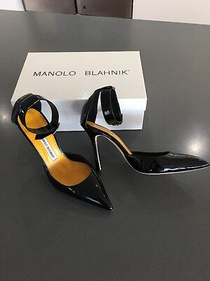 Manolo Blahnik Patent With Ankle Strap 38.5
