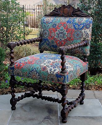 Antique English Oak BARLEY TWIST Fireside Occasional Club Chair New Upholstery