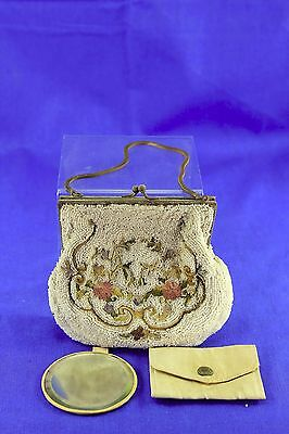 Antique Bead Lady's Evening Bag With Mirror And Change Purse