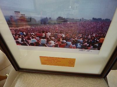 Woodstock photograph 1969 Signed # 3669 by Tiber w festival ticket 1969 (GOLD)