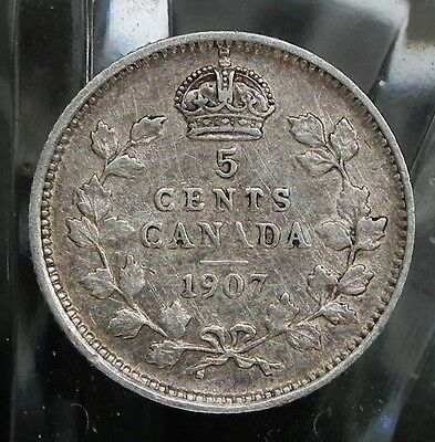 1907 Canadian King Edward VII 5 cent 92.5% Sterling Silver  coin