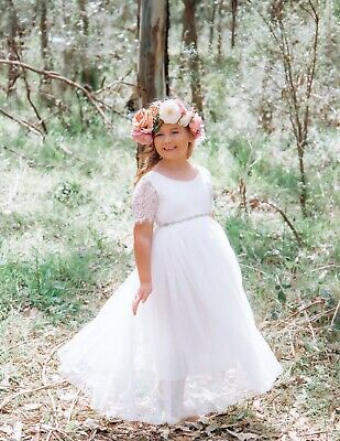 Flower Girl Dress Princess Vintage Special Occasion Party Wedding Lace 3 COLOURS