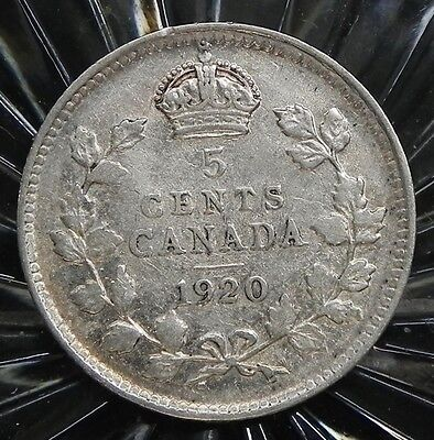 1920 Canadian 5 cent King George V 80%  Silver coin