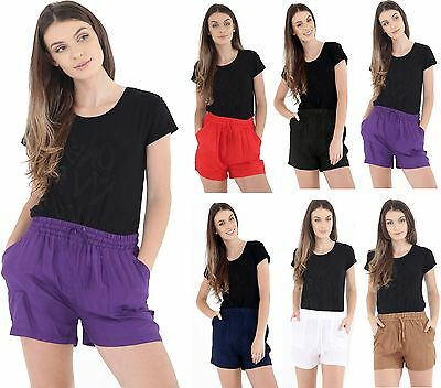 Womens Ladies Short Length Linen Summer Casual Shorts UK Size 10 12 14 16 18