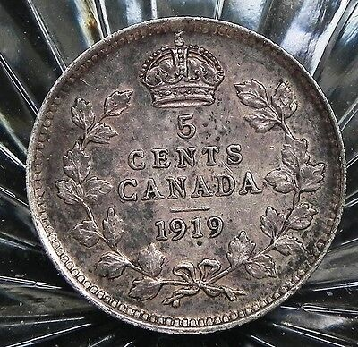1919 Canadian King George V 5 cent 92.5% Sterling Silver  coin