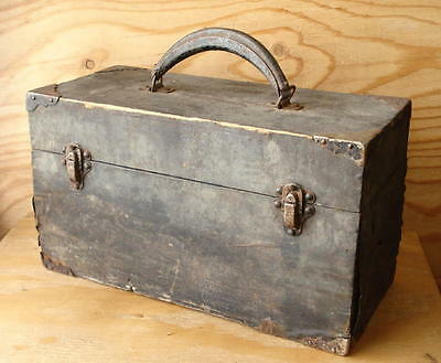 Antique Vintage Wood Utility -Tool -Tackle -Wooden Storage Box