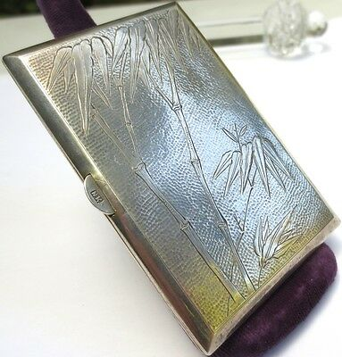 Antique Chinese Silver Cigarette Case Bamboo Engraved Card Holder
