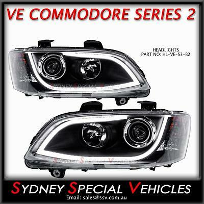 Headlights For Series 2 Ve Commodore Black With Led Drl Daytime Running Lights
