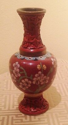 Fine 20th Century Chinese Red Cloisonne and Cinnabar Vase Floral Design