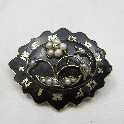 Antique Victorian Mourning Brooch Gold Enamel And Seed Pearl In Memory Of