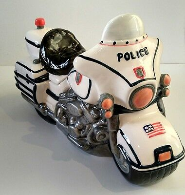 usa police motorcycle moto cookie jar #ldt sc946 great condition - hard to find