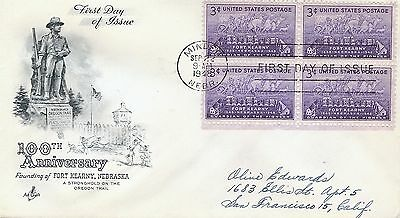 Scott 970- Fort Kearny 100th Ann. block 4 FDC with Artcraft cachet